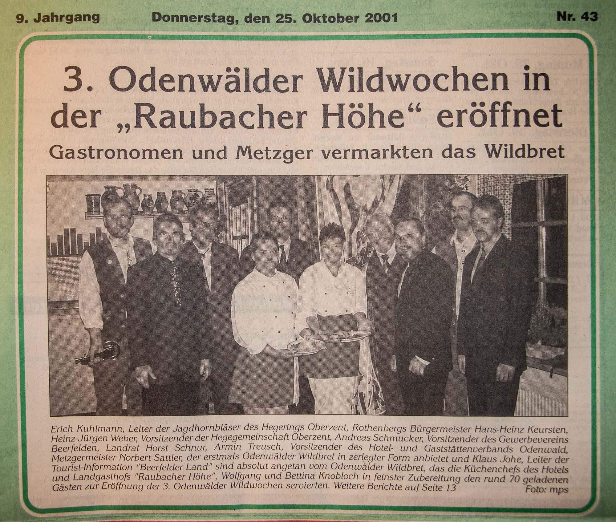 Erste Teilnahme an den Odenwälder Wildwochen